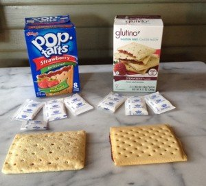 Traditional Pop-Tart and a gluten-free alternative still have the same amount of sugar.